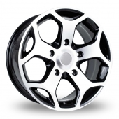 BK Racing 954 Black Polished Alloy Wheels