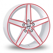 Autec Delano White Red Alloy Wheels