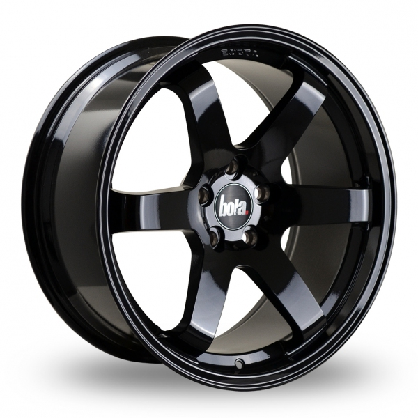 """19"""" Bola B1 Gloss Black Wider Rear Alloy Wheels"""