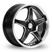 Lenso D1-RS Black Polished Rim Alloy Wheels
