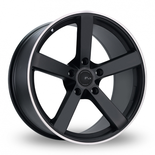 20 Inch Fox Racing MS003 Black Polished Pinstripe Alloy Wheels