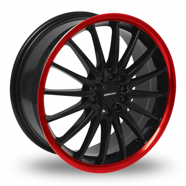 "17"" Team Dynamics Jet Black/Red Lip Alloy Wheels"