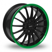 Team Dynamics Jet Black Green Alloy Wheels