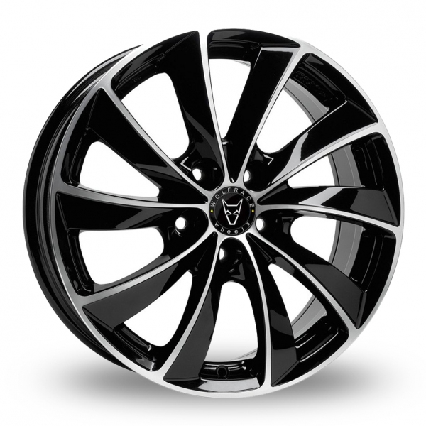 18 Inch Wolfrace Lugano Black Polished Alloy Wheels