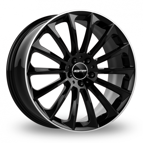 """18"""" GMP Italia Stellar Black/Polished Lip Wider Rear Alloy Wheels"""