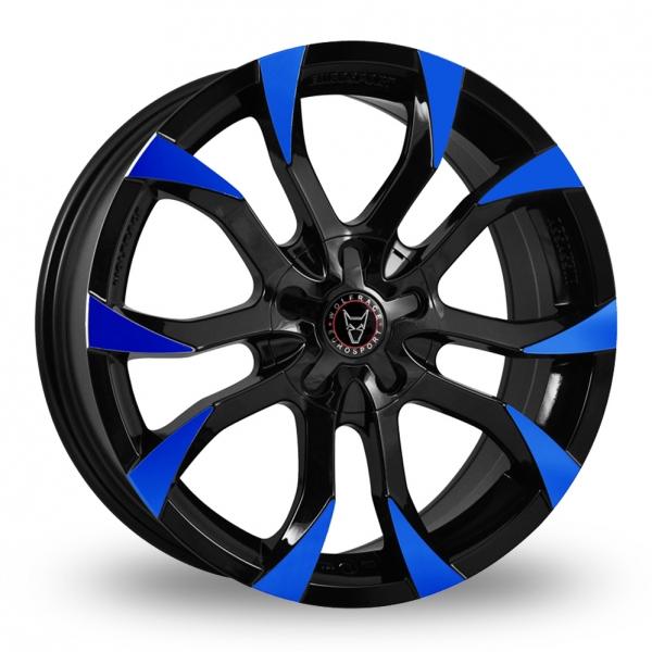 "18"" Wolfrace Assassin Black/Blue Tips Alloy Wheels"