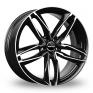 18 Inch GMP Italia Atom Black Polished Alloy Wheels