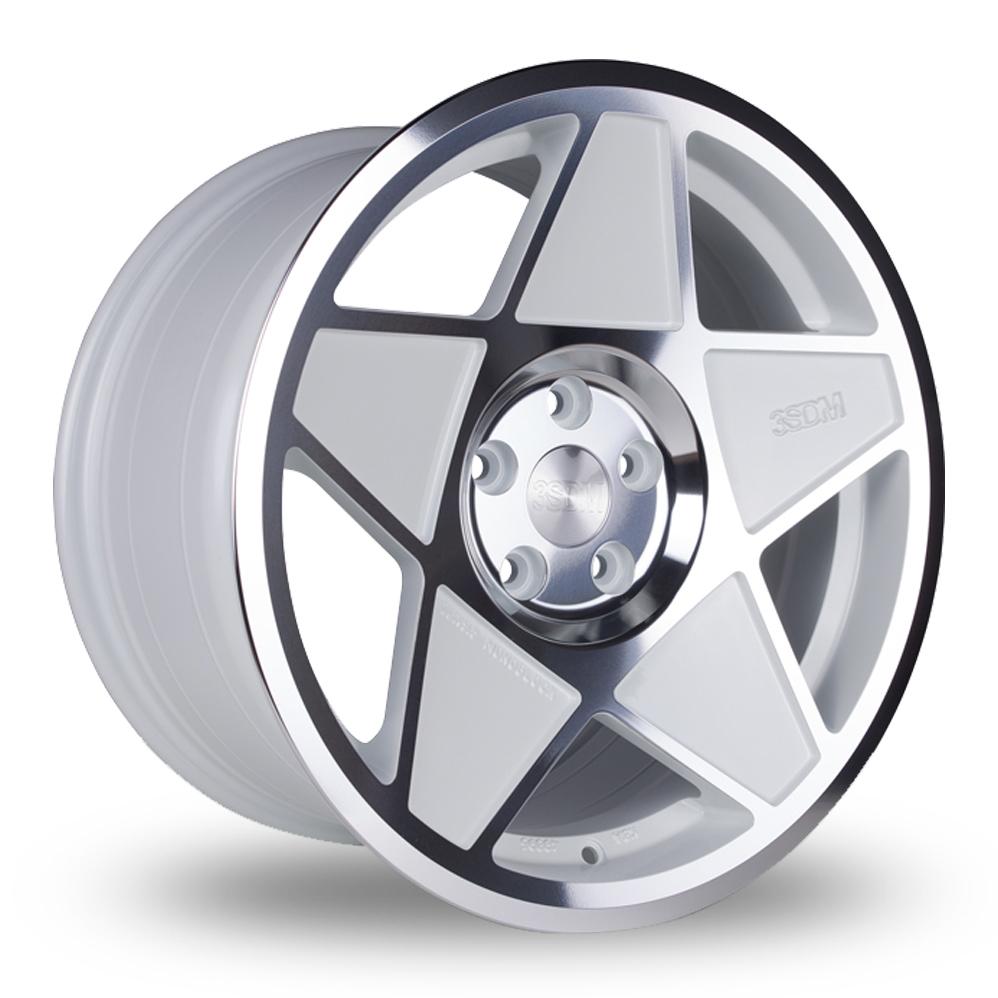 "18"" 3SDM 0.05 White/Polish Wider Rear Alloy Wheels"