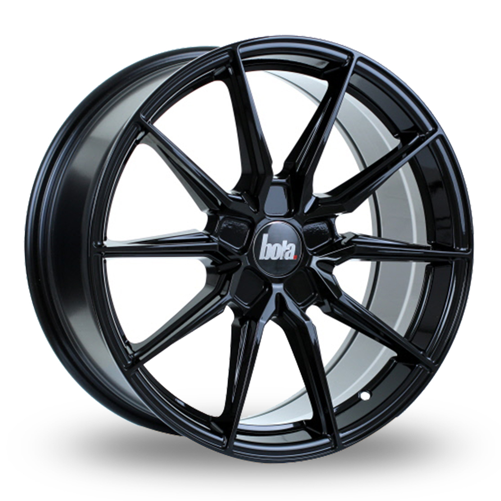 8.5x19 (Front) & 9.5x19 (Rear) Bola B16 Gloss Black Alloy Wheels
