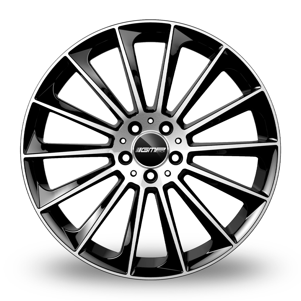 8.5x20 (Front) & 9.5x20 (Rear) GMP Italia Stellar Black Polished Alloy Wheels