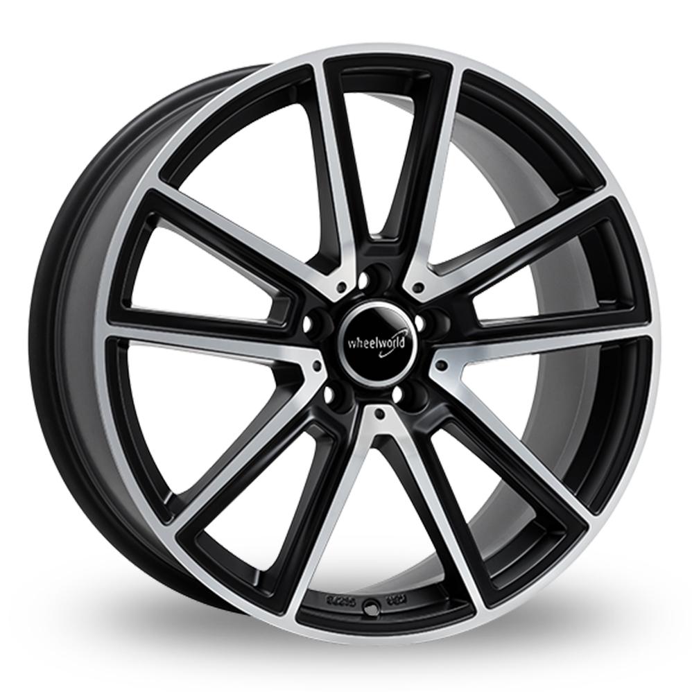 "18"" Wheelworld WH30 Matt Black Polished Alloy Wheels"