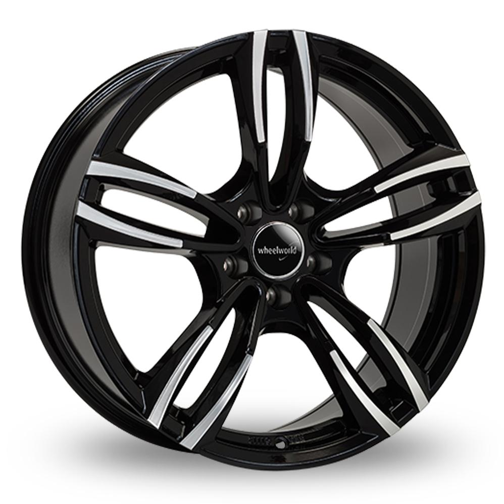 "18"" Wheelworld WH29 Black Polished Alloy Wheels"