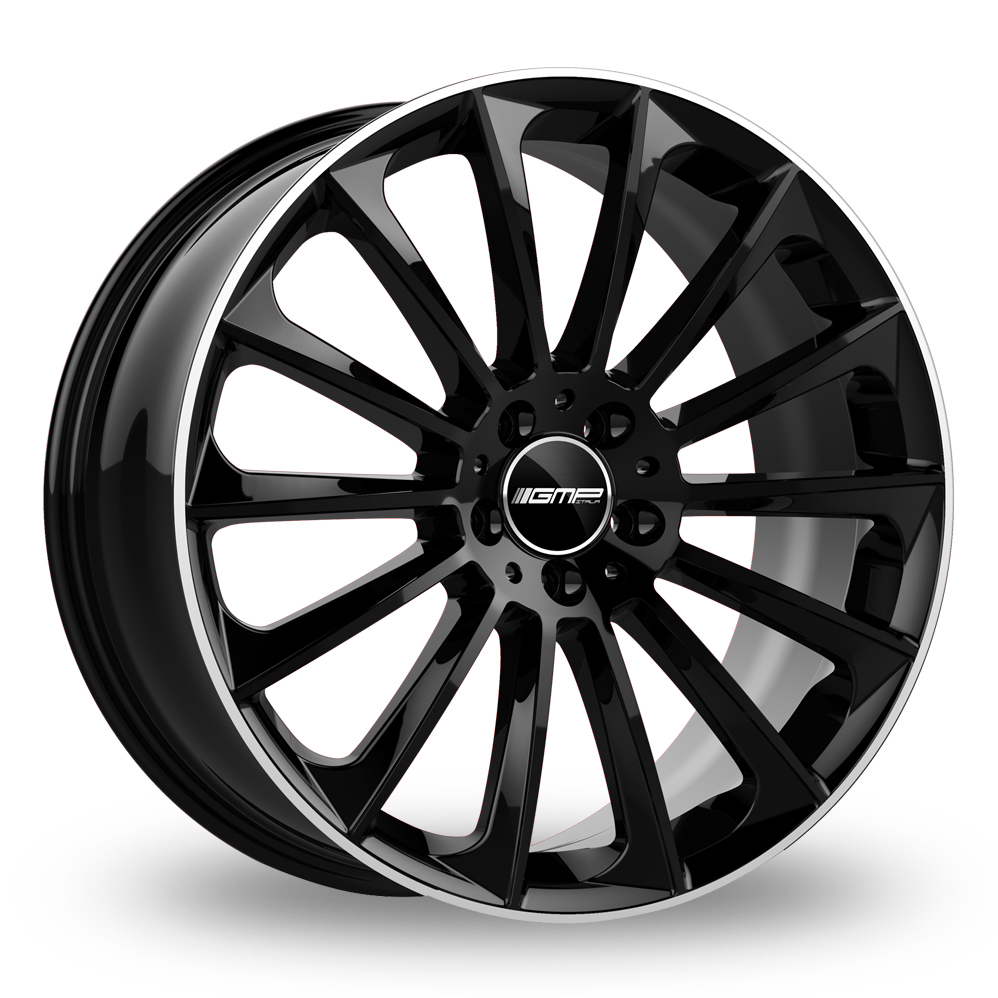 "19"" GMP Italia Stellar Black/Polished Lip Alloy Wheels"