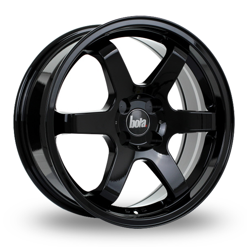 "18"" Bola B1 Gloss Black Wider Rear Alloy Wheels"