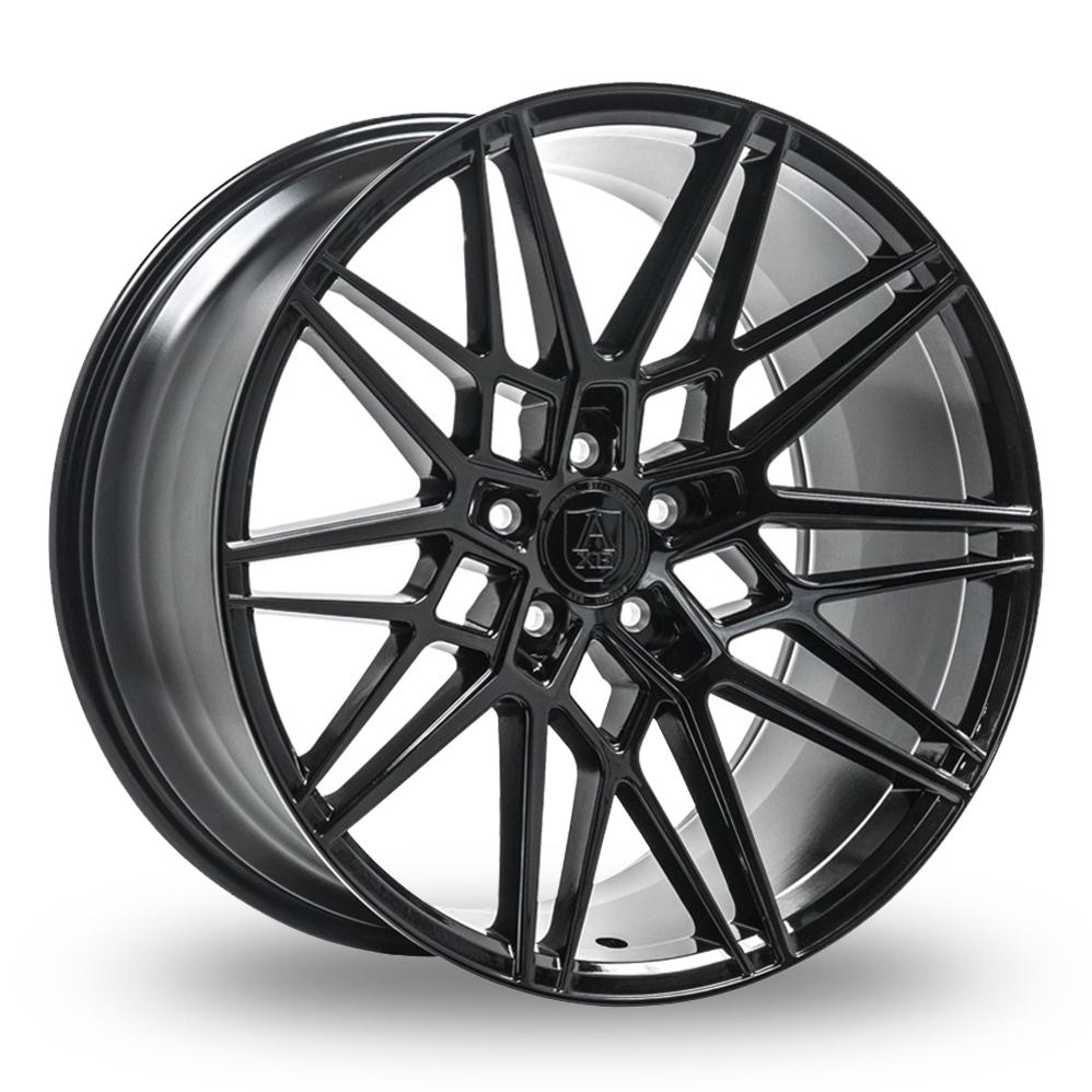 9x20 (Front) 10.5x20 or 11x20 (Rear) Axe CF1 Gloss Black Alloy Wheels