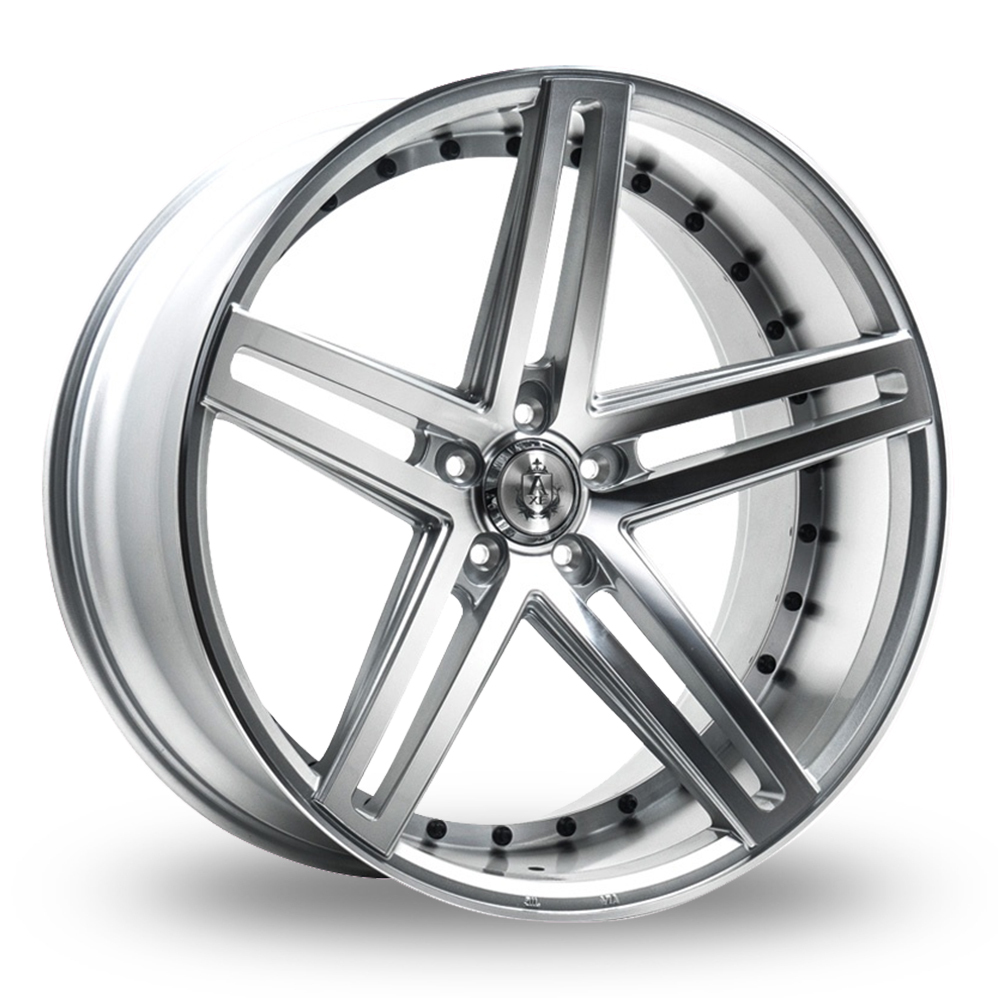 9x22 (Front) & 10.5x22 (Rear) Axe EX20 Silver Polished Alloy Wheels