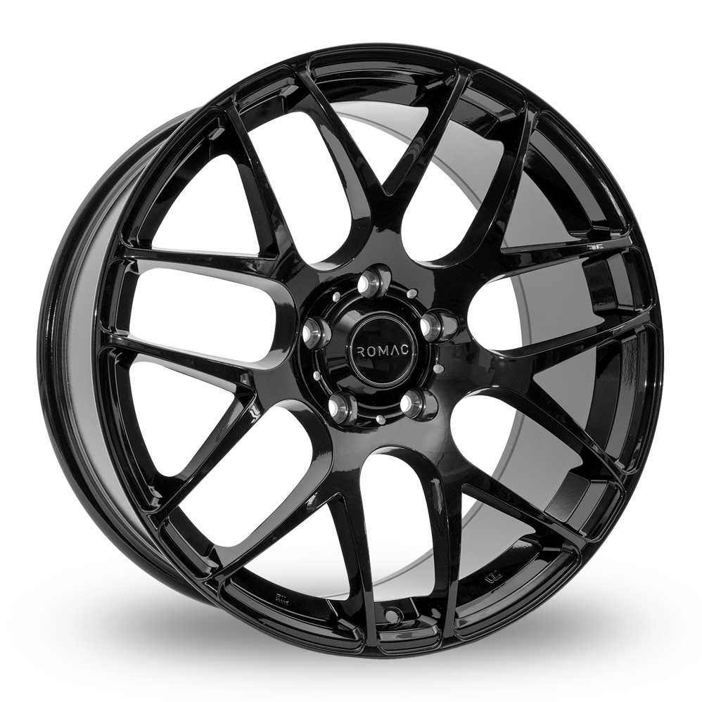 "18"" Romac Radium Gloss Black Wider Rear Alloy Wheels"
