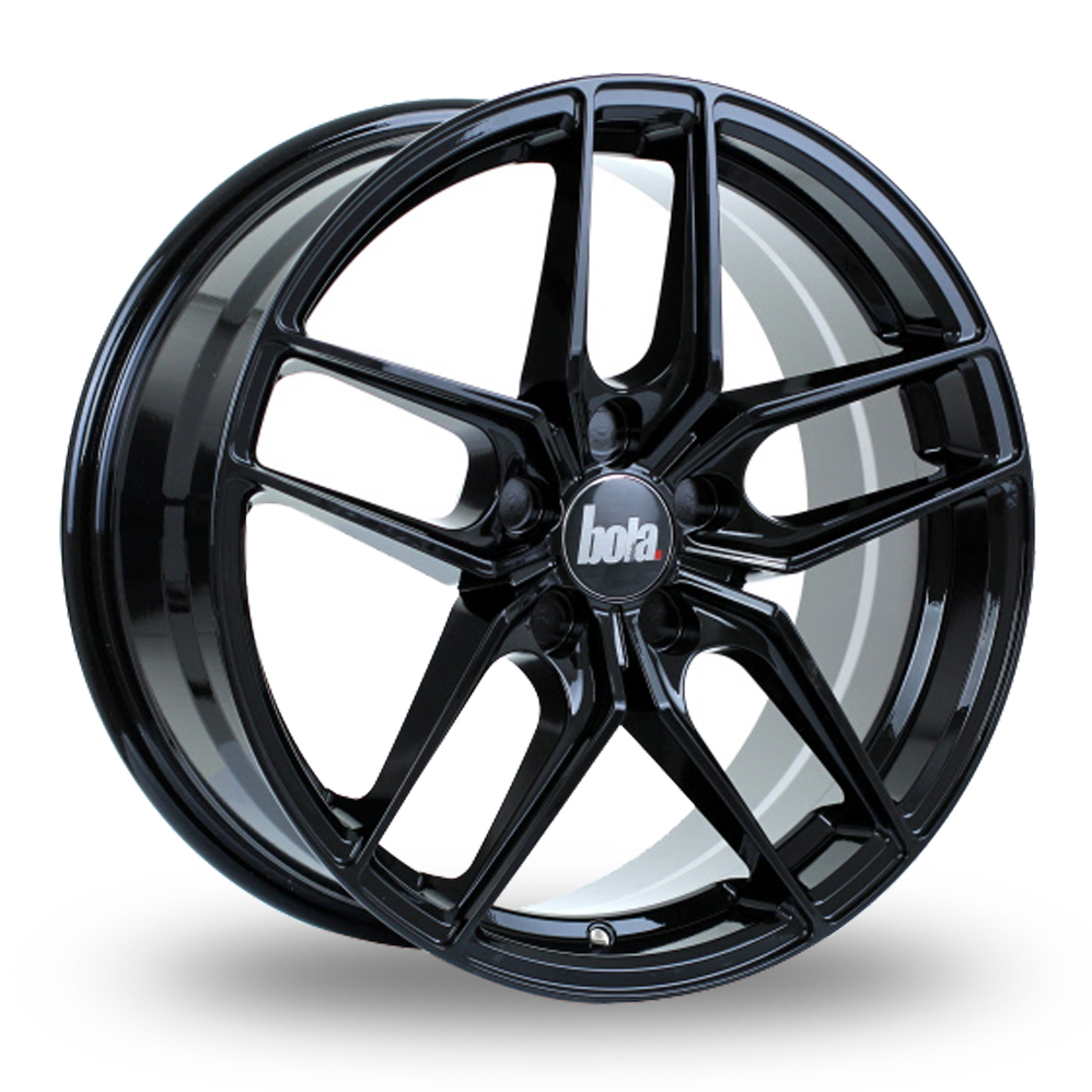 """20"""" Bola B11 Gloss Black Wider Rear Alloy Wheels"""