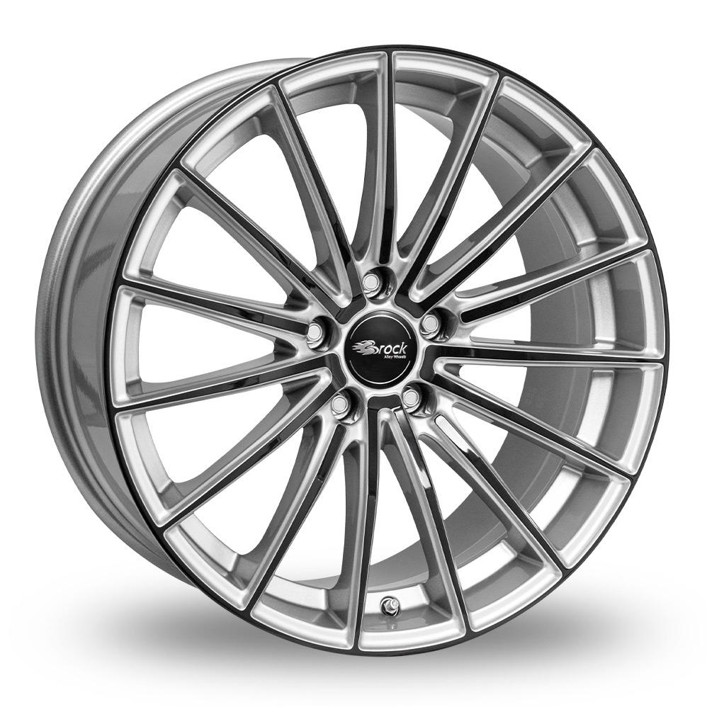 "18"" Brock B36 Silver Black Alloy Wheels"