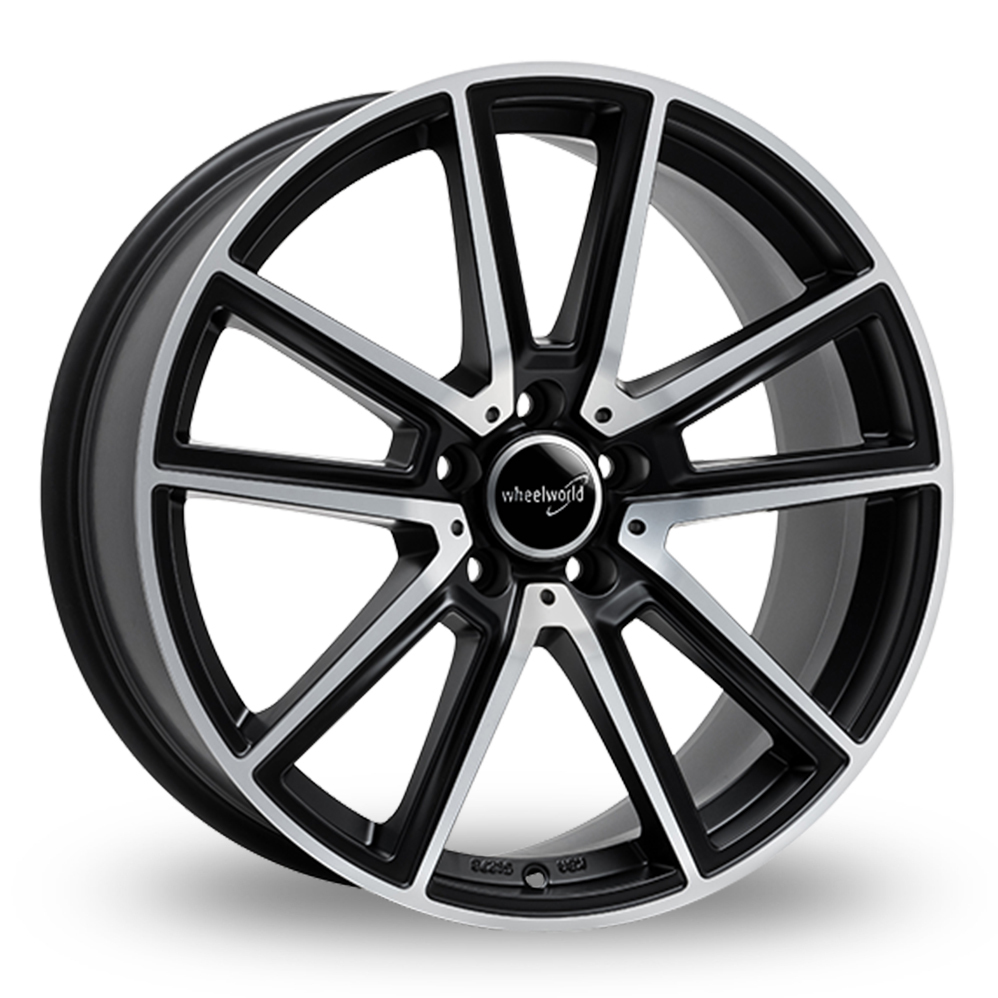 "19"" Wheelworld WH30 Matt Black Polished Alloy Wheels"