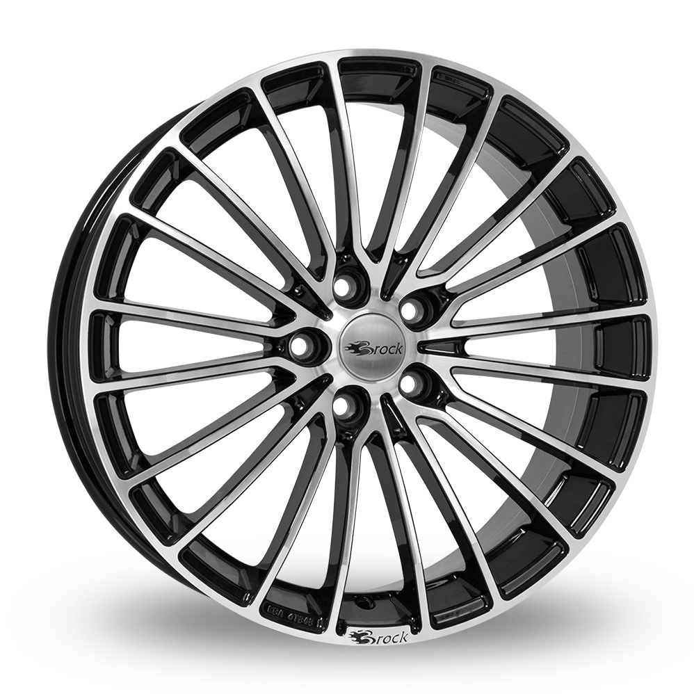 "17"" Brock B24 Gloss Black Polished Alloy Wheels"