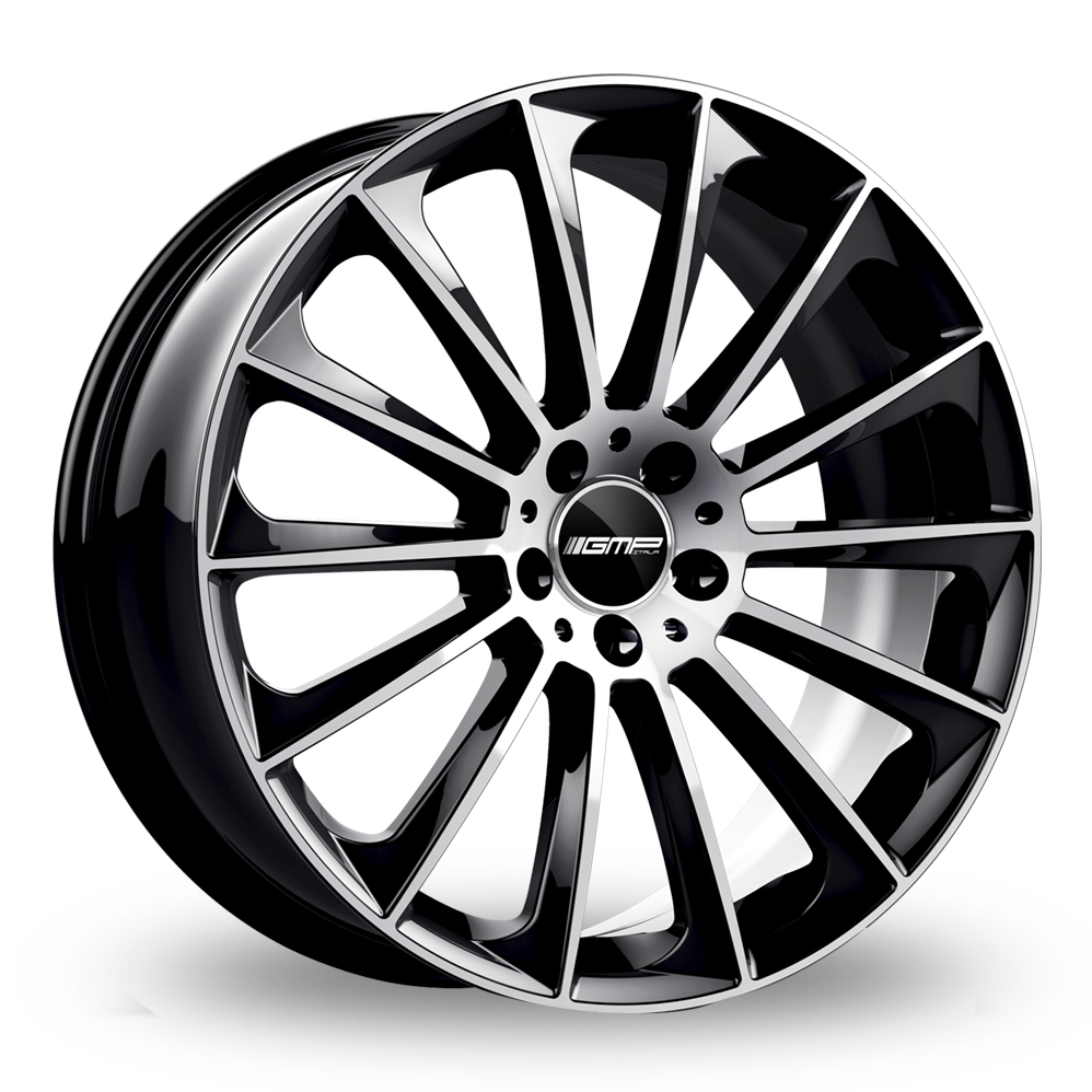 8.5x19 (Front) & 9.5x19 (Rear) GMP Italia Stellar Black Polished Alloy Wheels