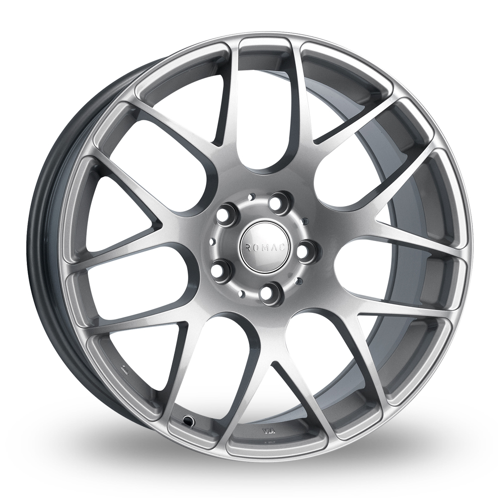 8.5x19 (Front) & 9.5x19 (Rear) Romac Radium Silver Alloy Wheels