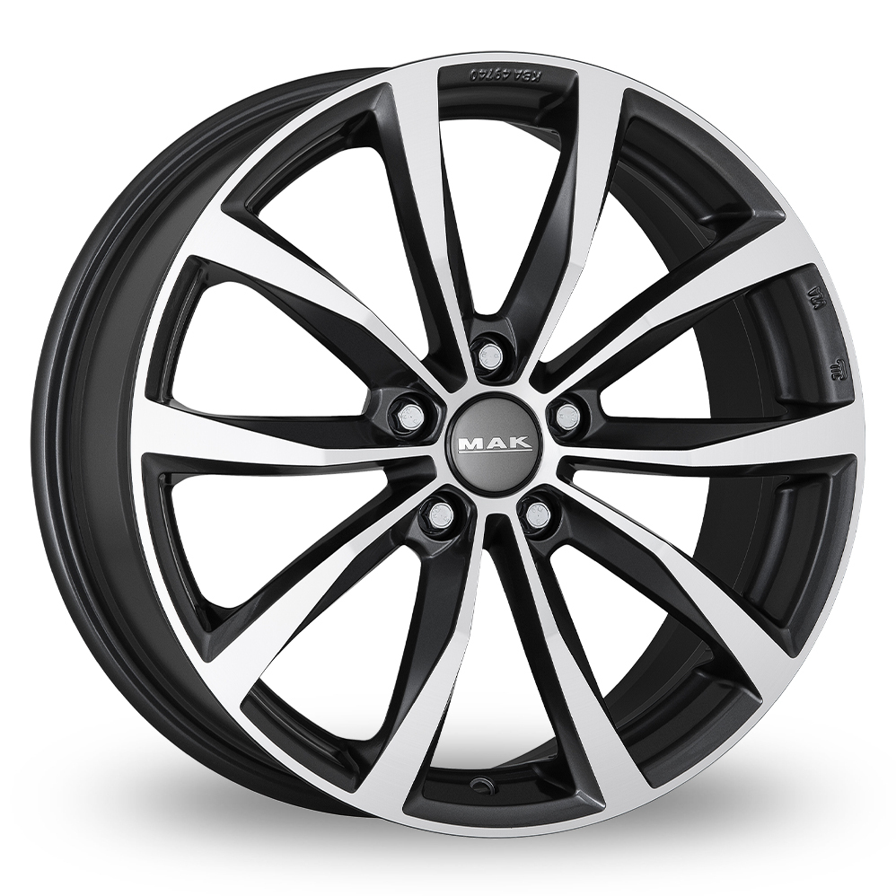 "16"" MAK Wolf Gun Metal Mirror Face Alloy Wheels"