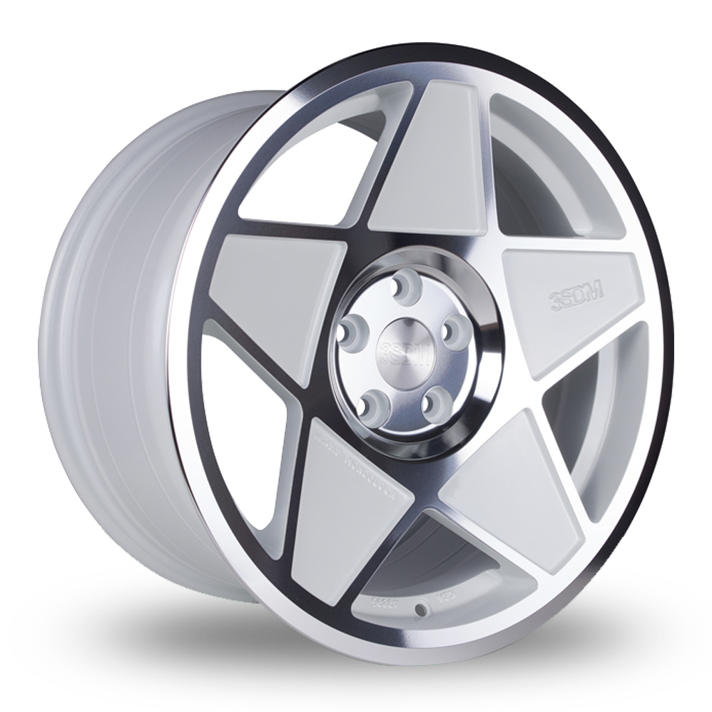 "19"" 3SDM 0.05 White/Polish Wider Rear Alloy Wheels"