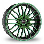 CW by Borbet CW4 Black Green Alloy Wheels