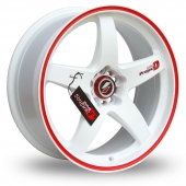 Lenso D1-R White Red Alloy Wheels