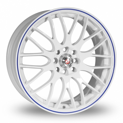15 Inch Calibre Motion 2 White Blue Alloy Wheels