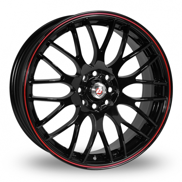 "17"" Calibre Motion 2 Black/Red Lip Alloy Wheels"