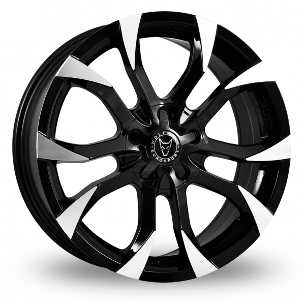 16 Inch Wolfrace Assassin Black Polished Alloy Wheels