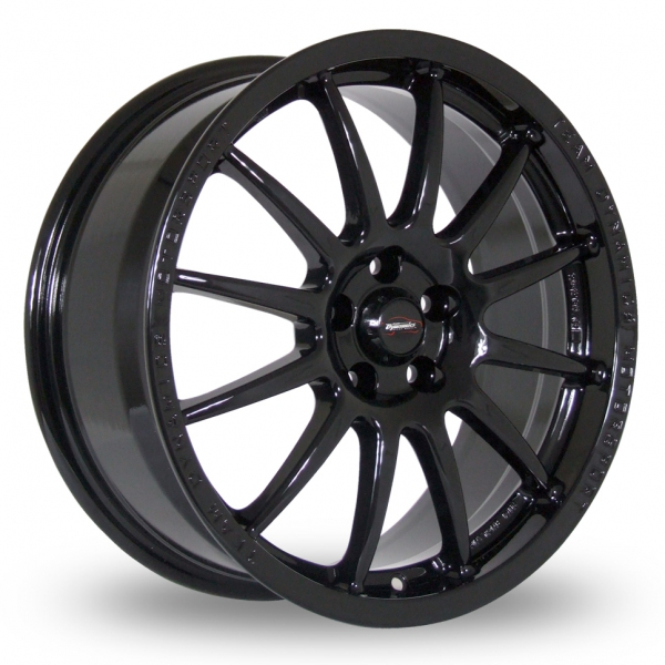 "18"" Team Dynamics Pro Race 1.2 Gloss Black Alloy Wheels"
