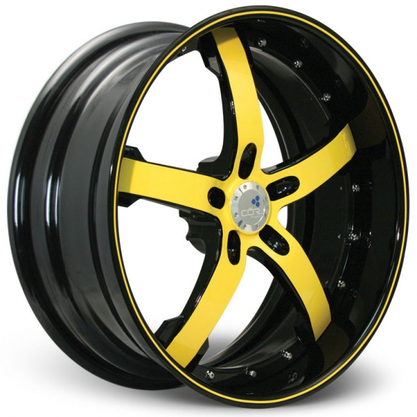 """Concord Toyota Used Cars: COR Wheels Concord Signature Series Black Yellow 20"""" Alloy"""